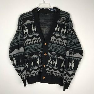 Tejidos | Wool Angora Llama Print Cardigan